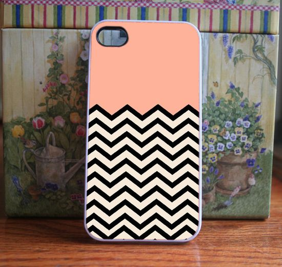I love this phone cover! - iPhone Case Peach Chevron - iPhone 4S and iPhone 4 Case Cover. $15.99, via Etsy.