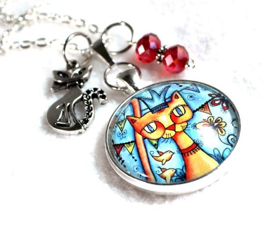 #Cat Art #Pendant, #Charm #Necklace by Mary Ann Farley, funky fun! $24.00