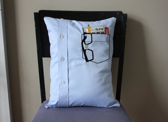 Upcycle a men's shirt into a geeky pillow. love it!