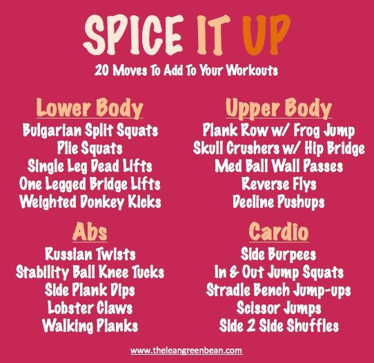 Spice It Up! 20 new moves to add to your workout routines!