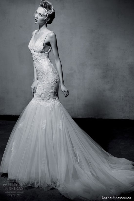 lusan mandongus wedding dresses 2013 sleeveless mermaid