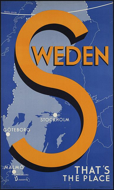 Sweden - Travel poster By Boston Public Library