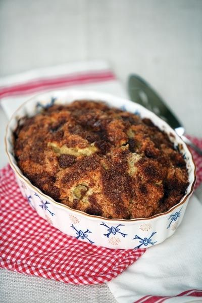 This Rhubarb Cake recipe with honey results in a healthful dessert for the