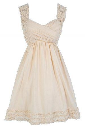 McKenzie Pleated Cotton Dress in Butter