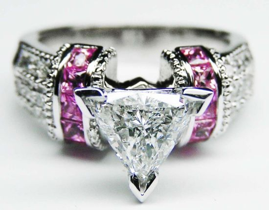 Engagement Ring - Trillion Diamond Engagement Ring Square Pink Sapphire