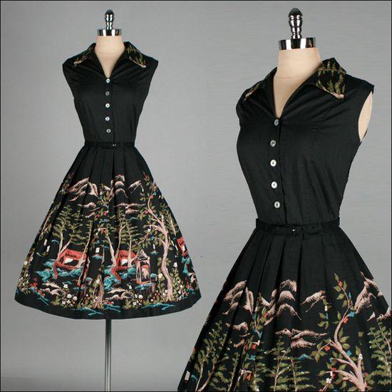 Vintage 1950s Dress . Black Cotton . Full Skirt . Novelty Print .