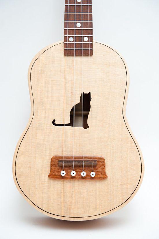 Celentano Woodworks ukulele - cat silhouette sound hole