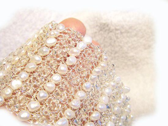 White pearl bracelet Crochet Bridal cuff Hand crochet bracelet Silver wire White Pearl cuff Israeli Jewelry