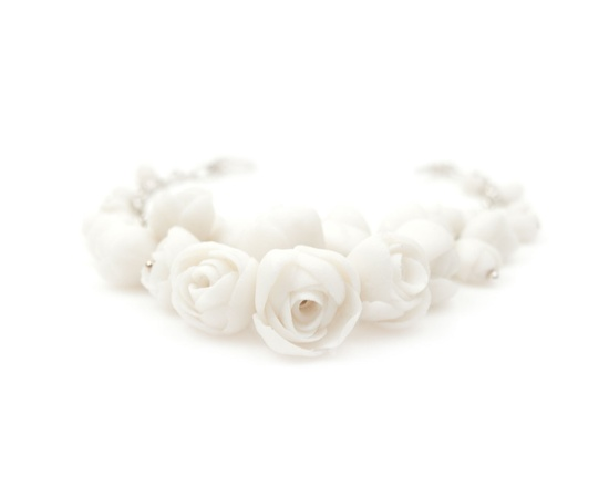 EL PASO Peony Bracelet For Wedding Day , Bridal White Porcelain and Sterling Silver