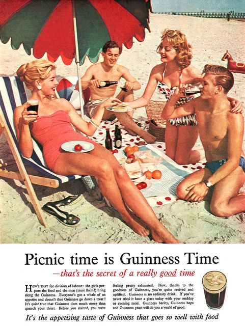 Beach picnic time is Guinness time. #vintage #1950s #beer #food #ads