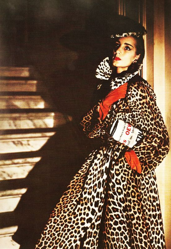 Photo by Louise Dahl-Wolfe #fashion_photography #gloves #leopard #red_lips #swing_coat #vintage #1950s