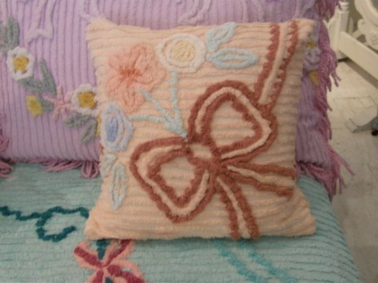 down pillow shabby chic vintage chenille by VintageChicFurniture