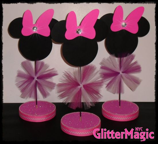 Minnie Mouse Centerpiece / Minnie Mouse Inspired / Minnie Mouse Decoration / Minnie Mouse Party - Minnie Mouse Pink -  Baby Minnie Mouse on Etsy, $10.50