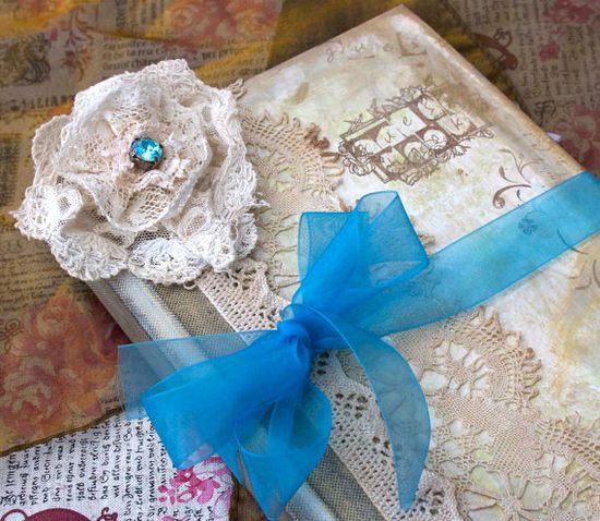 Wedding Guestbook  Teal and rose pink in by youruniquescrapbook, £99.99
