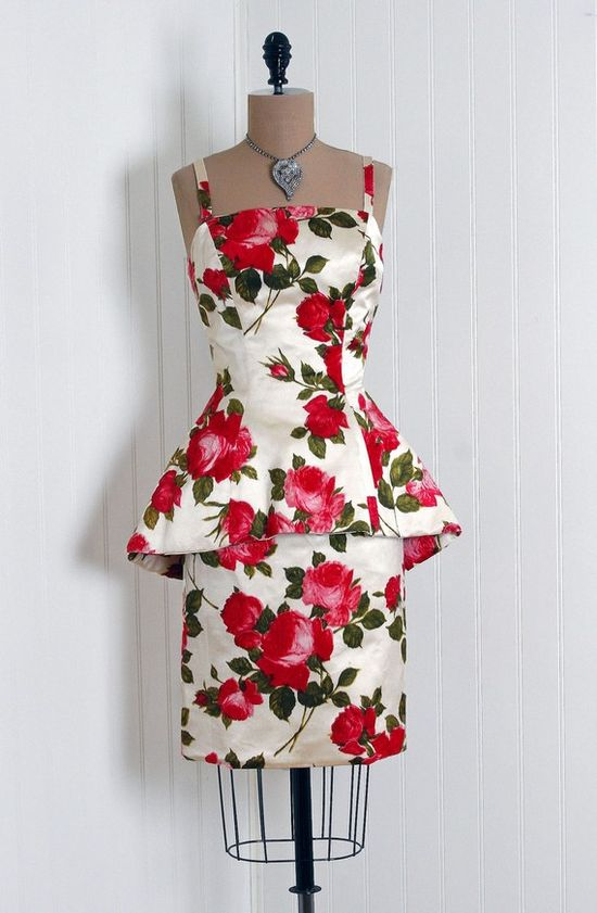 ~1950's Mr. Blackwell Rose Floral Print Velvet-Flocked Satin Cocktail  Dress~