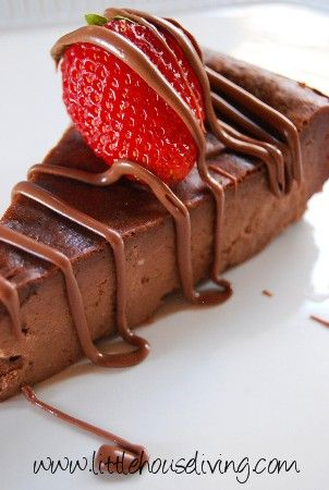 Simple Crustless Chocolate Cheesecake