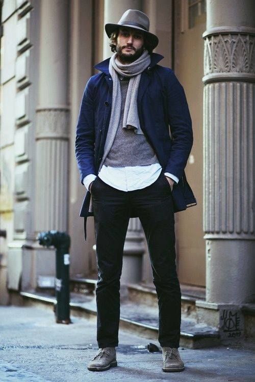 Scarf, coat, and hat