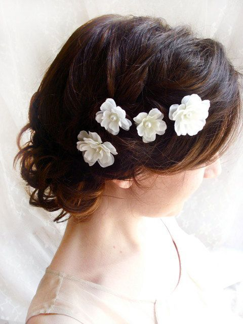 white flower hair pins white bridal hair by thehoneycomb on Etsy, $40.00