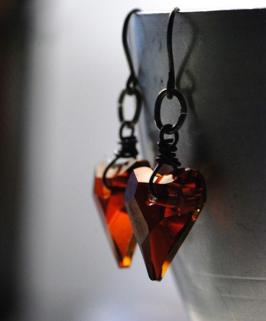 Red Heart Earrings Sultry Red Swarovski Wild