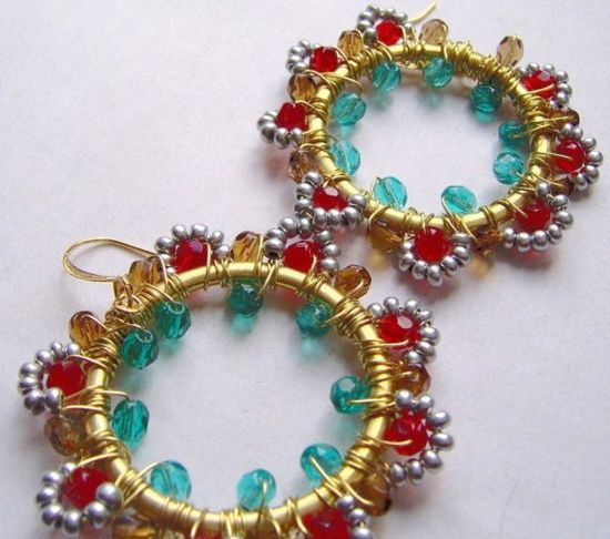 Red Beaded Earrings Teal Wire Wrapped Hoops by BohemiaJewelry, $48.00