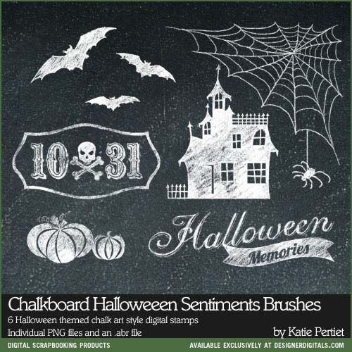 #Chalkboard art Halloween Sentiments Brushes and Stamps - #Photoshop #Brushes #digitalstamps