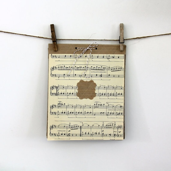 8 x 10 Handmade Music Notepad 17 pgs  Tear Away by 42Things