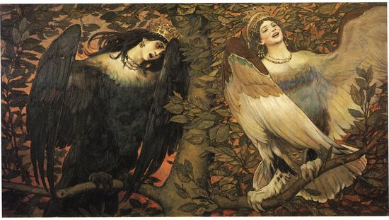 Viktor Mikhailovich Vasnetsov, Sirin and Alkonost. The Birds of Joy and SorrowThe State Tretyakov Gallery, Moscow    Date: 1896  Technique: Oil on canvas, 133 x 250 cm    Sirin is a mythological creature of Russian legends, with the head and chest of a beautiful woman and the body of a bird (usually an owl).