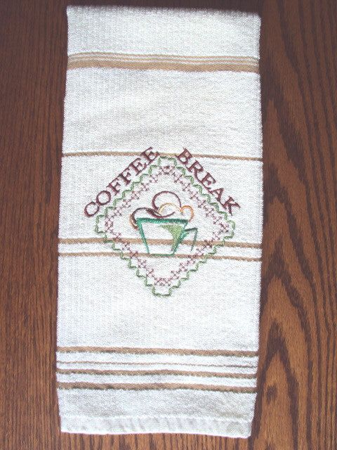 Kitchen Hand Dish Towel Embroidered With Coffee by PJSEMBROIDERY, $10.00