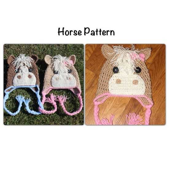 PDF Pattern  for Crochet Horse Beanie. Newborn to adult sizes. Permission to sell.. $4.99, via Etsy.