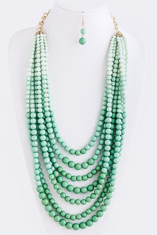 Mint stacked ombre beaded statement necklace with simple little earrings. $24,99, via Etsy.
