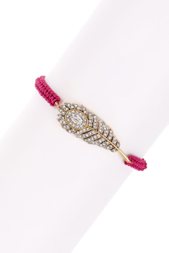 Pave Feather Friendship Bracelet