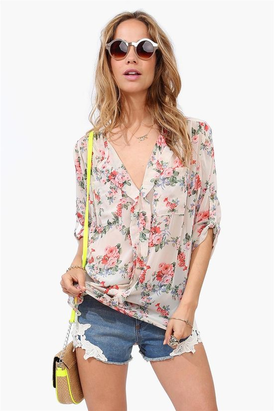 Spring Bloom Blouse - Taupe