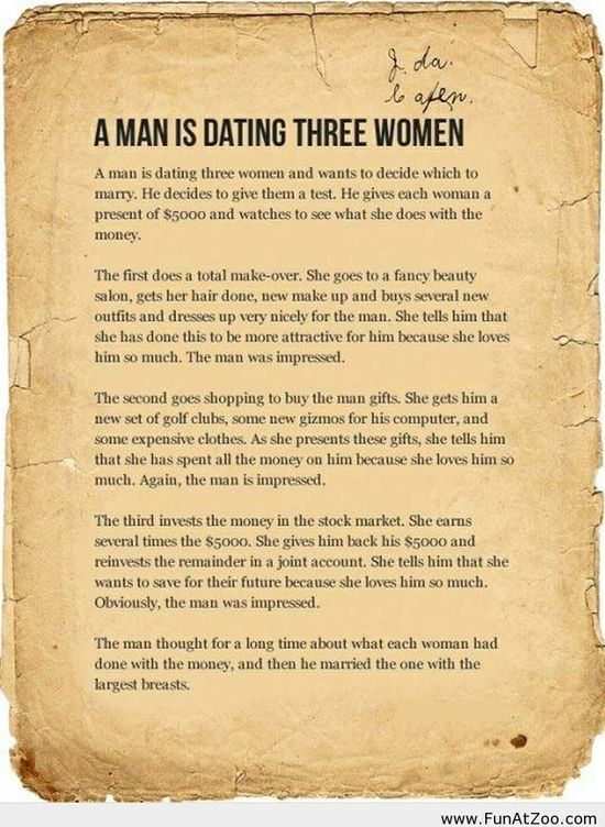 A man is dating three women – funny story - Funny Picture