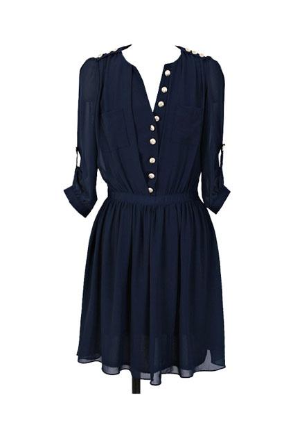 Korean style blue chiffon dress