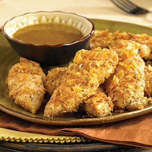 "Oven ""Fried"" Chicken Fingers with Honey-Mustard Dipping Sauce"