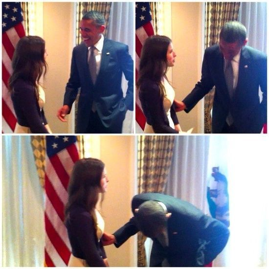 Anna Kendrick with President Obama. Funny girl. Photo by