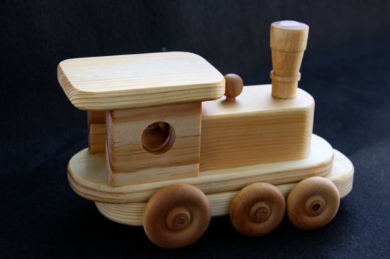 Clunky Wood Train Engine (handmade in CA, all natural, non-toxic wood toys) $15