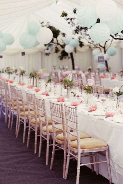 coral & aqua wedding decor with lanterns