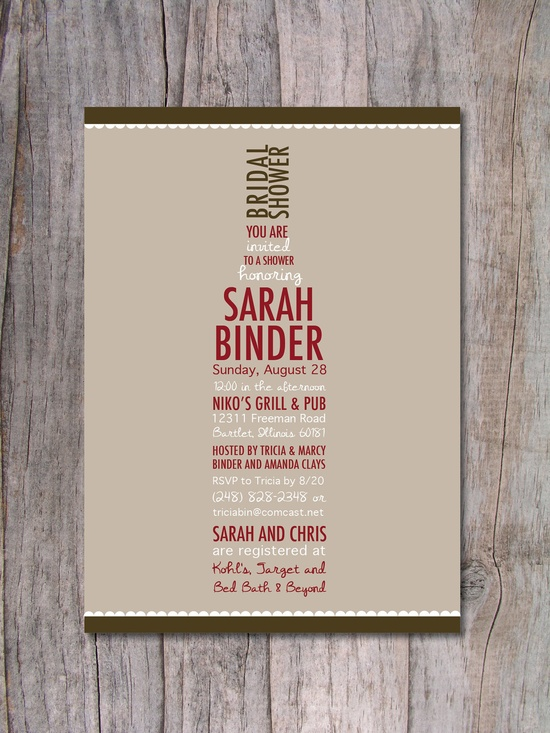 bridal shower invite – Wine Lovers by Pinch Of Spice. $15.00, via Etsy.