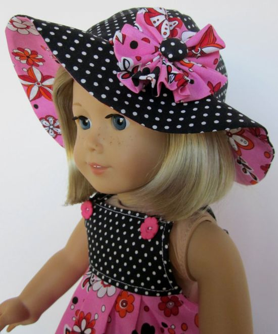Sundress and Hat in Pink Floral and Black Dot