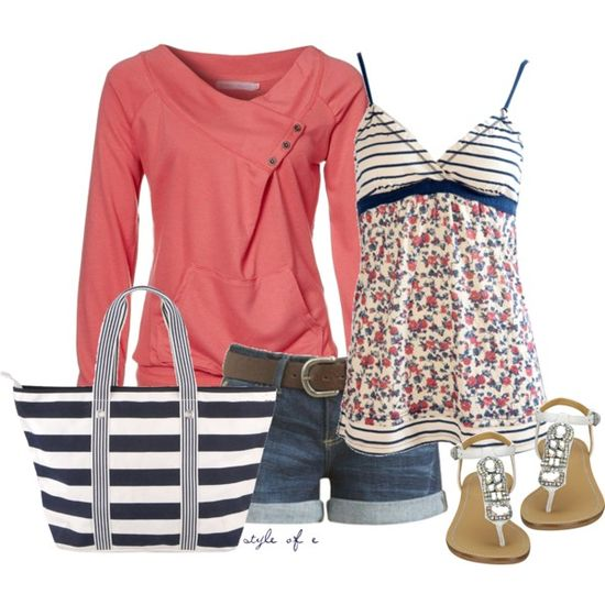 "Love this too! ""Coral and Navy for Summer"" by styleofe on Polyvore"