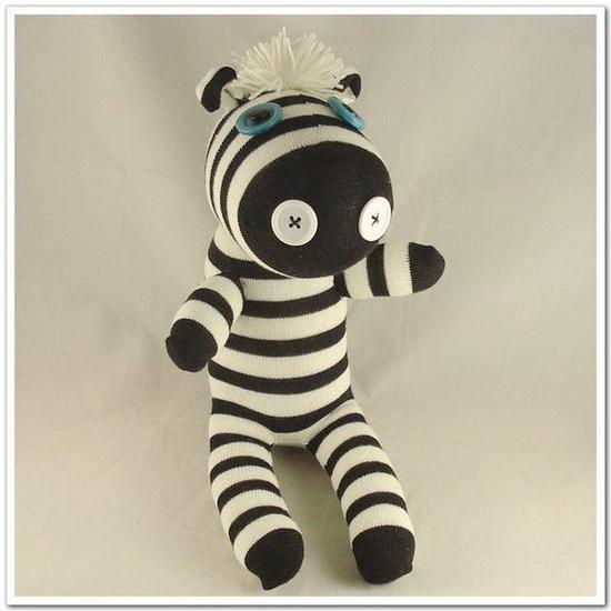 Handmade Sock Zebra Stuffed Animal Doll Baby Toys. $14.99, via Etsy.