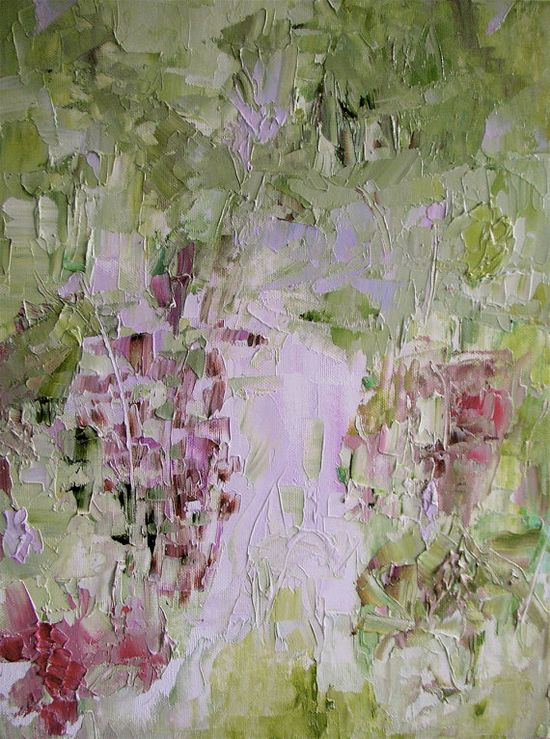 Painting original oil floral abstract landscape by Mossmottle