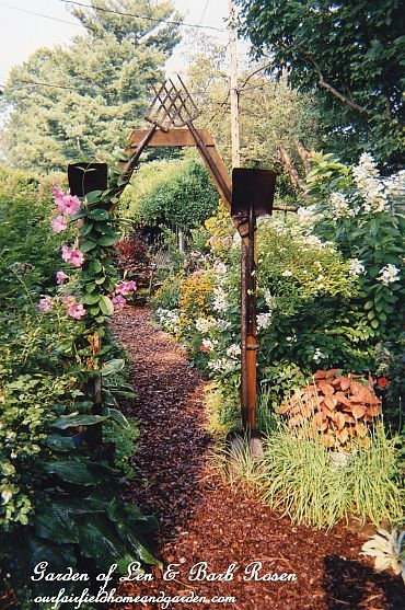 arbor made from rusty tools