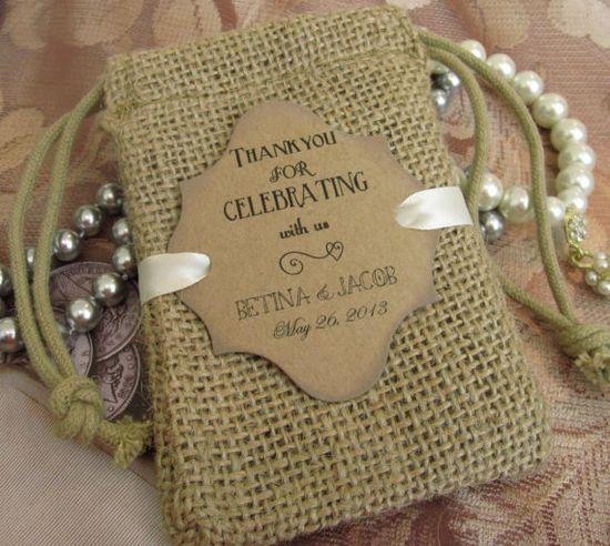 Personalized Burlap wedding favor bags