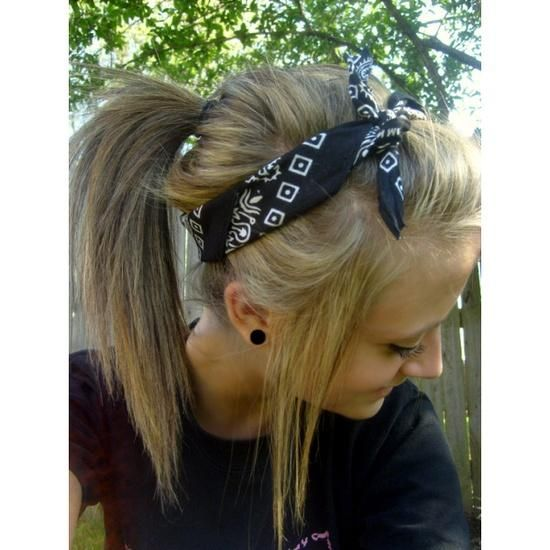 Bandana Hairstyle. I do this all the time and love it! Looks really cute with a messy bun