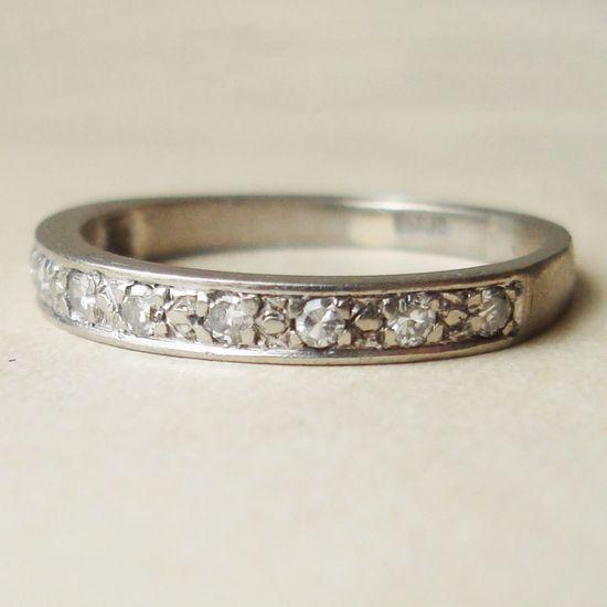 Vintage 18k White Gold Diamond Eternity Ring, Vintage Wedding Ring Engagement Band Ring, Size US 6. $348.00, via Etsy.