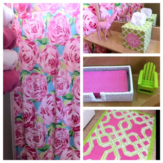 My Lilly Pulitzer pink and green guest bath.  www.etiquettewith...