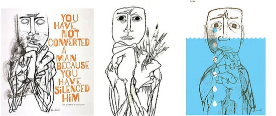 Two Ben Shahn Illustrations (c. 1950s); Wink (2005) by b_caruthers, via Flickr