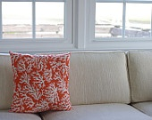 Beach Decor Coral and Seashell Pillow with Shell Tassels - Sea Foam and Coral. $42.00, via Etsy.
